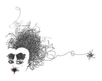 Black and white pen drawing of the Red Queen from Alice in Wonderland