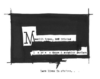 A black-and-white illustrated haiku created with an antique typewriter and a Sharpie marker