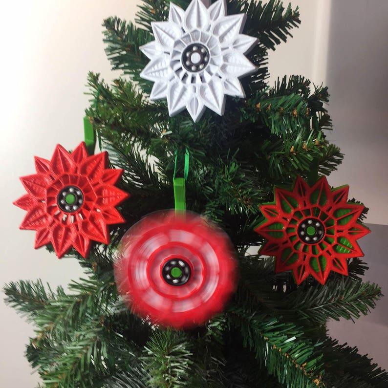 3d Printed Christmas Ornaments.Fidget Spinner Poinsettia Christmas Ornament 3d Printed Flower American Made With Tree Hanger New Innovative Ceramic Bearing