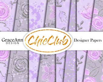 Fashion Paper Pack | Girly | Purple Flowers | Fashion Illustration | Digital Paper Pack | Seamless Pattern | Planner Stickers Scrapbook