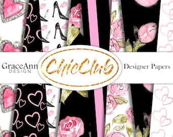 Fashion Digital Paper | Shopping Girl | Fashion Illustration | Digital Paper Pack | Seamless Pattern | Planner Stickers | Scrapbook Paper