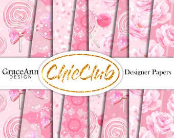 Fashion Paper Pack | Girly | Candy Pink Flowers | Fashion Illustration | Digital Paper Pack | DIY Cards | Planner Stickers Scrapbook
