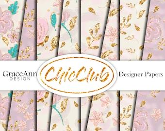 Floral Digital Paper | Pink Gold | Fashion Illustration | Digital Paper Pack | Seamless Pattern | Planner Stickers | Scrapbook Paper | DIY