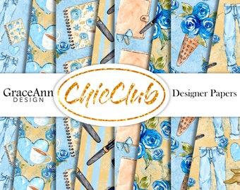 Fashion Digital Paper | Planner GIrl | Fashion Illustration | Digital Paper Pack | Seamless Pattern | Planner Stickers | Scrapbook Paper