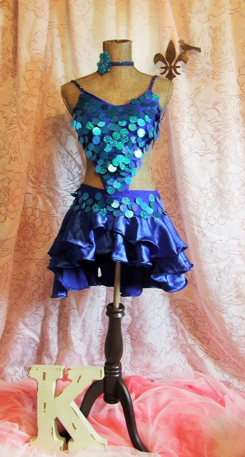 240c871c Womens' Royal Blue Penny Sequin Satin Skirt Shiny   Etsy