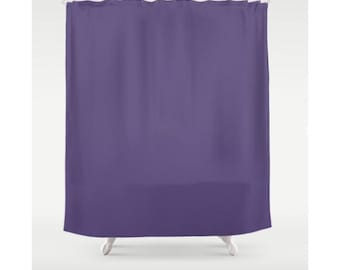 Purple Shower Curtain Solid Color Fabric Curtains Bathroom Modern