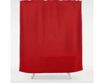 Red Shower Curtain Solid Color Curtains Bathroom Fabric Bath Modern And Classic