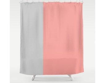 Coral Shower Curtain Beige Curtains Stripes Modern Bath Decor Beach Nautical