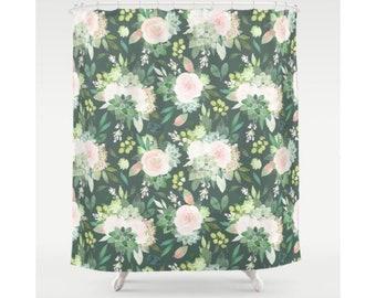 Floral Shower Curtain.  Leaf Fabric Shower Curtains. Bathroom Curtains. Nautical Coastal Shower Curtain. Shabby Chic Shower Curtain. Green