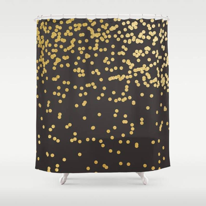 Black Shower Curtain Polka Dot