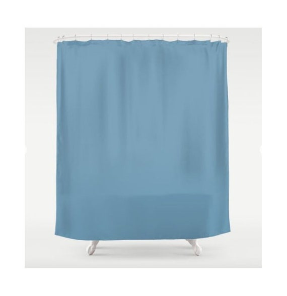 Blue Shower Curtain Solid Color Fabric