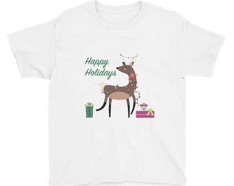 Happy Holidays Reindeer Youth Short Sleeve T-Shirt