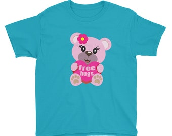 Free Hugs Teddy Bear Youth Short Sleeve T-Shirt
