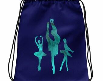 Ballerina Trio (Green) Drawstring Bag