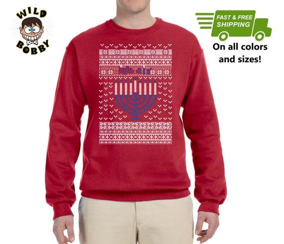 Its Lit Hanukkah Menorah Ugly Christmas Sweater Unisex Etsy