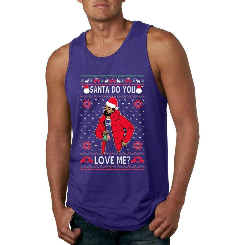 Mens Funny Christmas Graphic Tank Top Santa Do You Love Me White