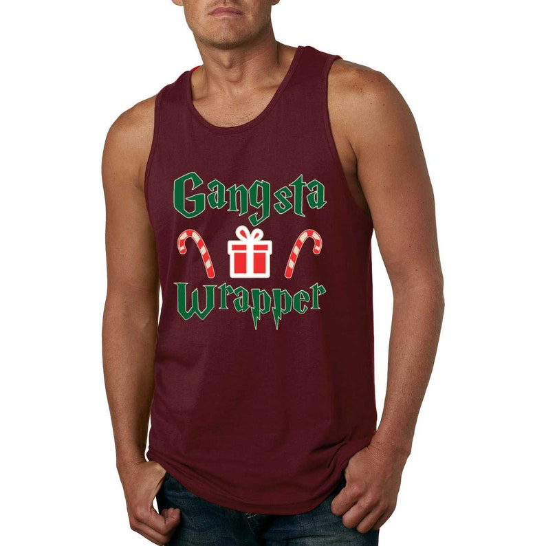 Mens Funny Christmas Graphic Tank Top Gangsta Wrapper