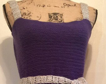 Handmade Crochet Purple and gray thread dress