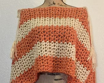 Acadian Rust Lace Poncho