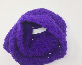 Purple Crochet Infinity Scarf