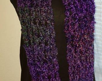 Handmade Crochet Purple Infinity Scarf