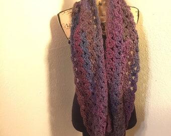 Purple Blossom Crochet infinity scarf