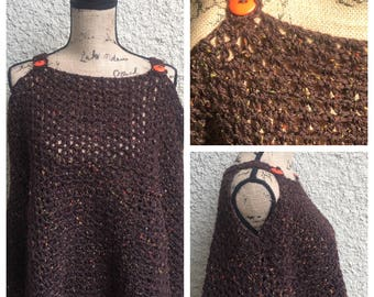 Chestnut Tweed Poncho with Button