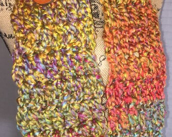 Rainbow Crochet Infinity Scarf with Button