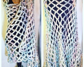Handmade Mesh Crochet Shawl