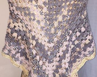 Gray Abstract Crochet Shawl