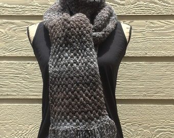 Brown Haze Crochet Long Scarf