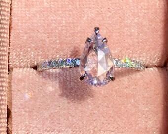 1.39ct Rose Cut Natural Unheated Light Purple Pink Ceylon Sapphire and Diamonds Ring