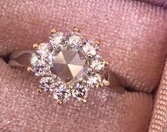Natural Rose Cut Diamond and Natural Untreated Pink Diamonds 18k Gold Ring