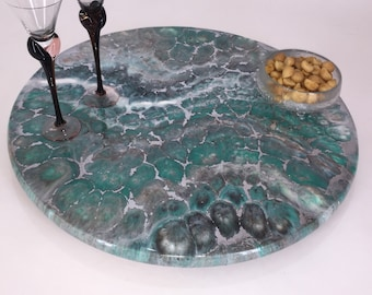 Lazy Susans - Textured Stone 1, Decorative epoxy turntable for dining table, charcuterie board or centerpiece, Wedding or housewarming gift