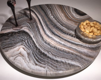 Lazy Susans - Smooth Stone 2, Decorative epoxy turntable for dining table, charcuterie board or centerpiece, Wedding or housewarming gift
