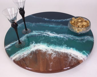 Lazy Susans - Ocean Series, Decorative epoxy turntable for dining table, charcuterie board or centerpiece, Wedding or housewarming gift