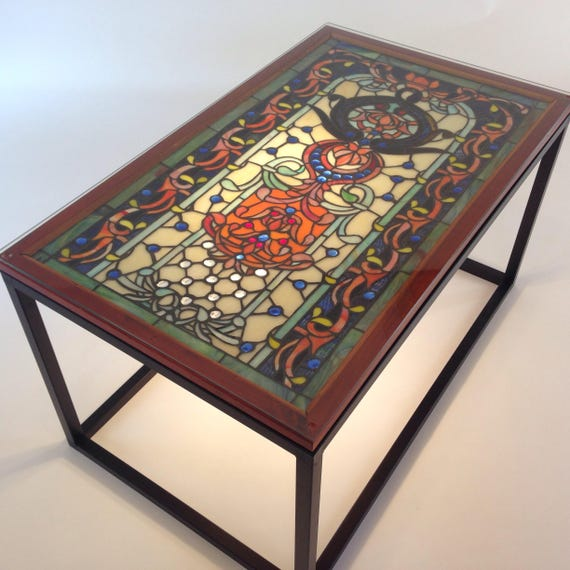 Glass Coffee Tables Etsy: Stained Glass Coffee Table Stained Glass End Table Blue