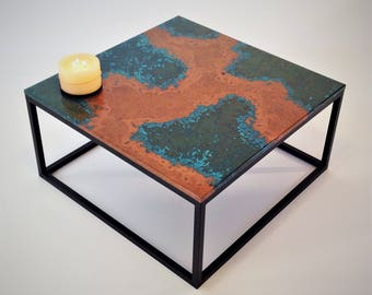 Copper Patina Coffee Table, Modern Decor Table, Handmade, Patina, Square, Hand Crafted, Contemporary, Sleek, Resin, Decoration, Bespoke