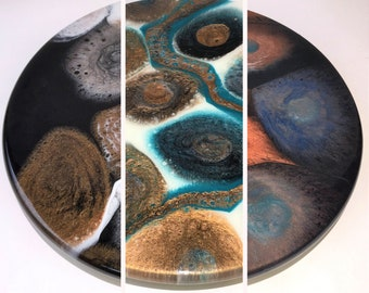 Lazy Susans - River Rocks Patterns, Decorative epoxy turntable for dining table, charcuterie board centerpiece, Wedding / housewarming gift