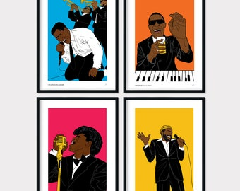 Soul Collection Marvin Gaye James Brown Stevie Wonder Otis Redding Poster Print Pop Art Bedroom Bathroom Home Decor Wall Art