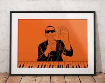 Stevie Wonder Print Home Decor Gift Frame Iconic Illustration Great For Living Custom Music Artwork Soul Motown TCROWETSN
