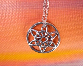 Celtic Sun/Moon Charm Necklace, 925 Sterling Silver