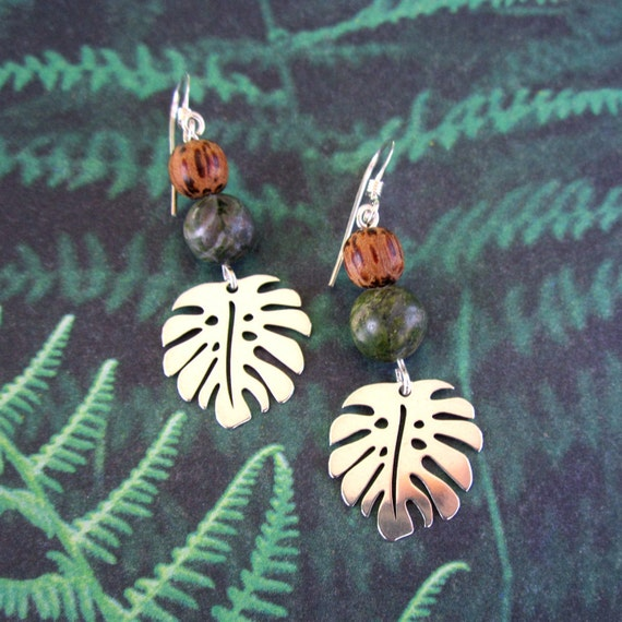 925 Sterling Silver Polished Green /& Brown Crystal Palm Tree Charm Pendant