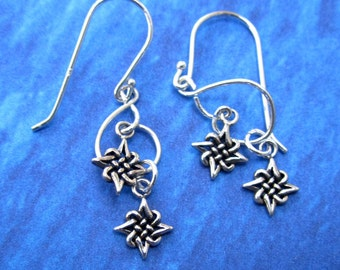 Unique Celtic Two Star Charm Earrings Sterling Silver