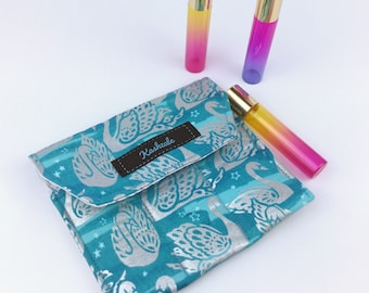 Silver Swan Essential Oil Roller Pouch, Silver and Teal Essential Oil Storage, Essential Oil Pouch, 3 Roller Storage, Roller Pouch.