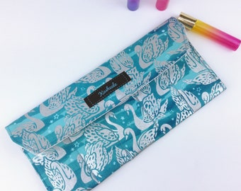 Silver Swan Essential Oil Roller Pouch, Silver and Teal Essential Oil Storage, Roller Storage, Roller Pouch, Essential Oil Case, Oil Pouch.