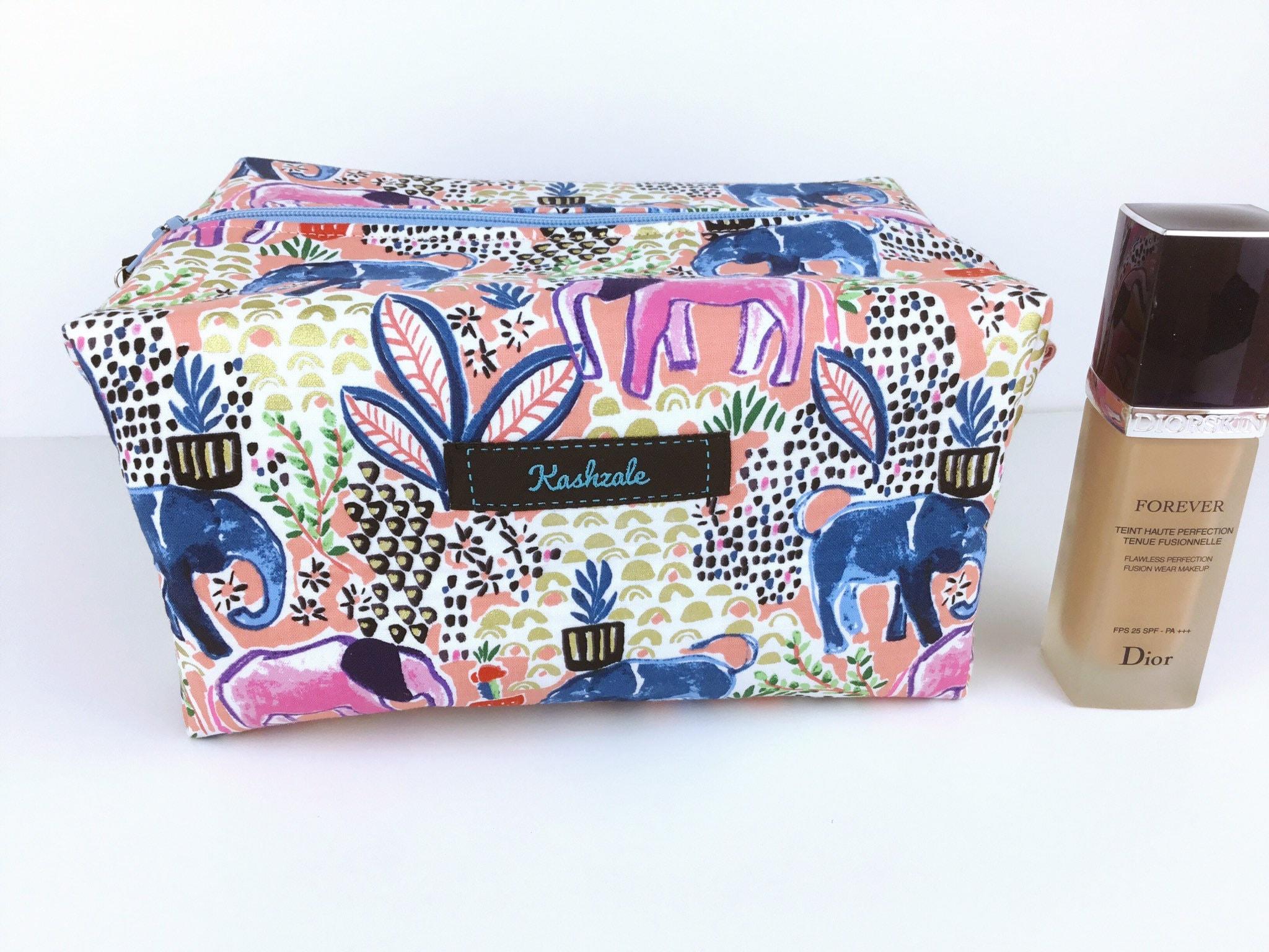 Elephant Print Large Cosmetic Bag, Make Up Bag, Toiletry Bag, Travel Bag, Large Box Shape Style, Made in Australia, Large Makeup Bag.