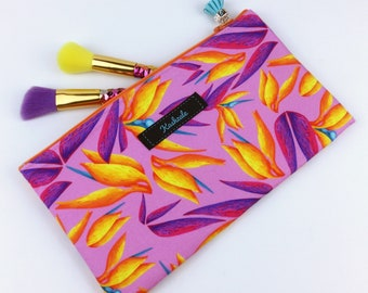 Bird of Paradise Zipper Pouch, Pink Floral Passport Holder, Floral Travel Pouch, Cosmetic Bag, Makeup Bag, Pencil Case.