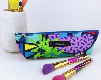 Abstract Floral Make up Brush Bag, Rainbow Colour Print Make Up Bag, Cosmetic Brush Bag, Toiletry Bag, Travel Bag, Pencil Case.