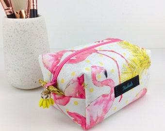 Flamingo Cosmetic Bag, Flamingo Toiletry Bag, Flamingo Makeup Bag, Travel Bag, Pencil Case, Medicine Bag, Flamingo Box Pouch.
